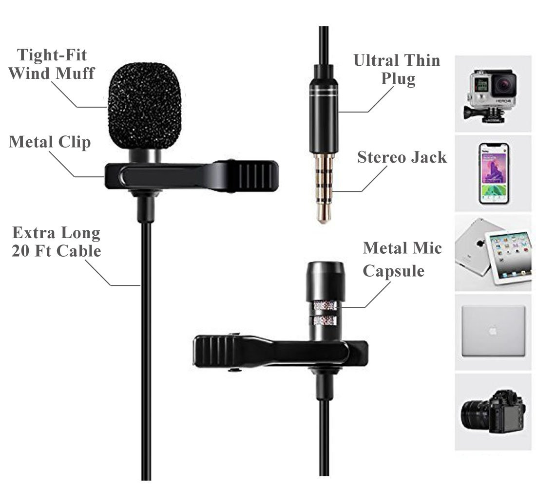 BATTERY POWER CLIP ON LAPEL MINI MICROPHONE ON//OFF VOLUME CONTROL 3.5mm /& 6.35mm