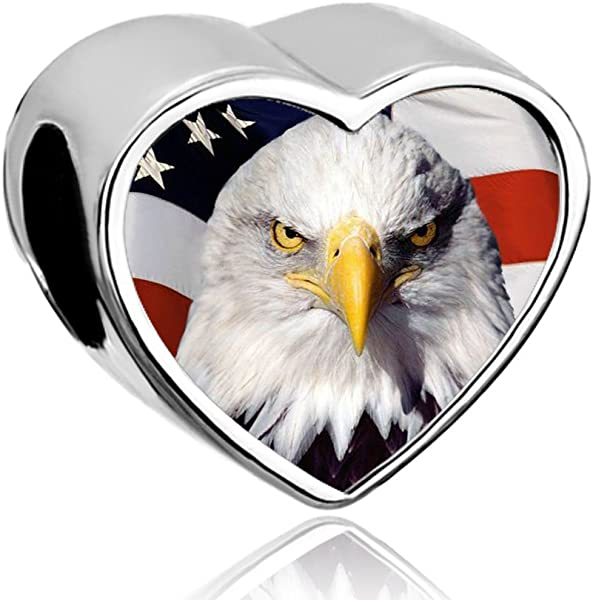 d2f0e635b LovelyJewelry Heart American Eagle With Flag Charm Fourth Of July  Independence Day Beads Fit Pandora Charm