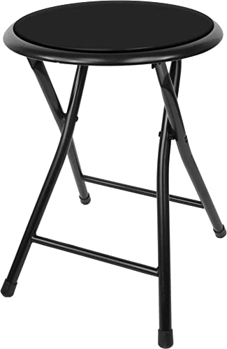 Trademark Home Collection 18 Inch Cushioned Folding Stool, Black