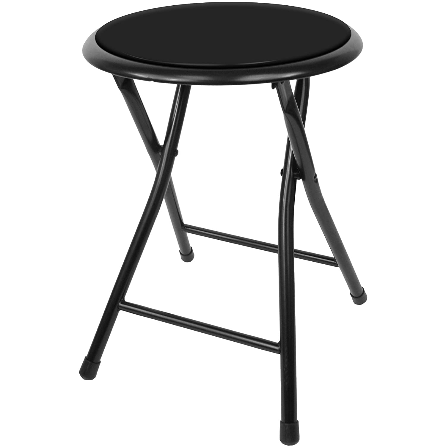 Trademark Home Collection Folding Heavy Duty 18-Inch Collapsible Padded Round Stool with 300 Pound Capacity for Dorm, Rec Room or Gameroom (Midnight)
