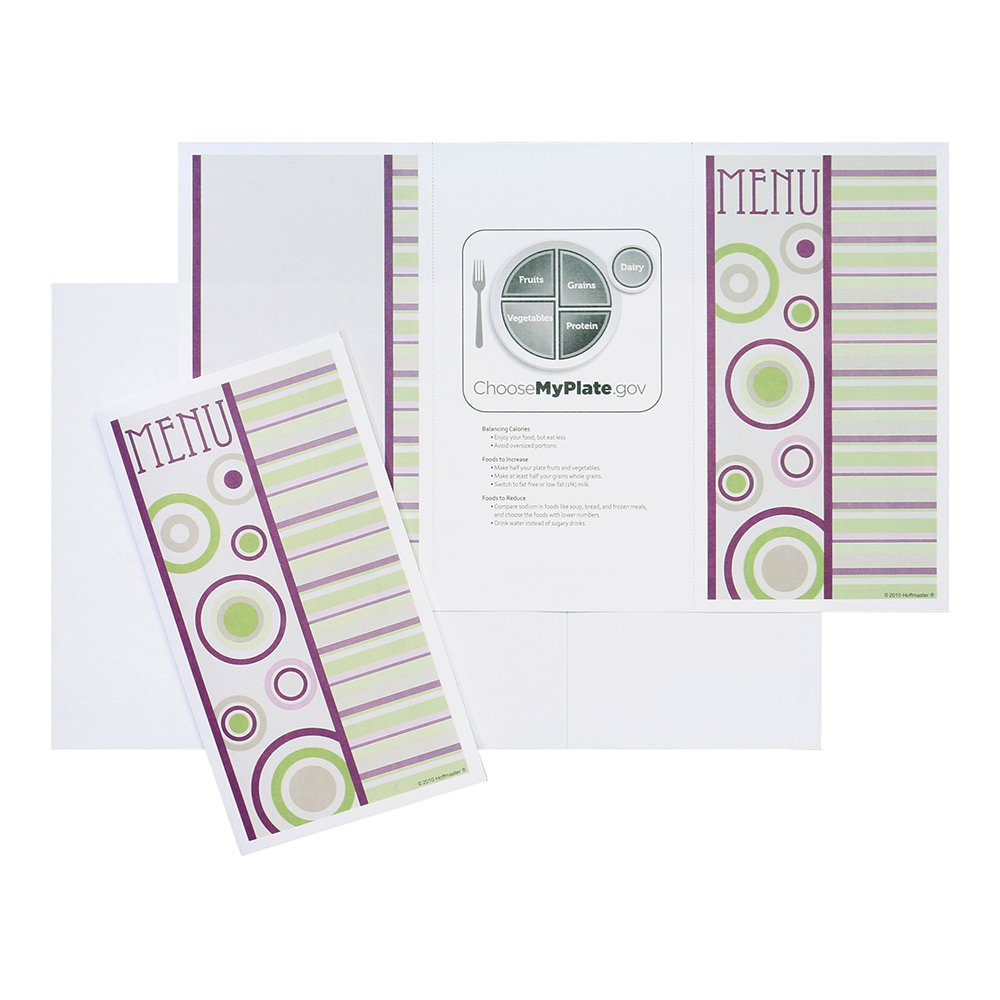 Hoffmaster 730002 Ready to Imprint Healthcare Menu Shells, 8.5'' x 14'', 3 Panel, Perforated, Jazzy (4 Inner Packs of 500) (Pack of 2000)