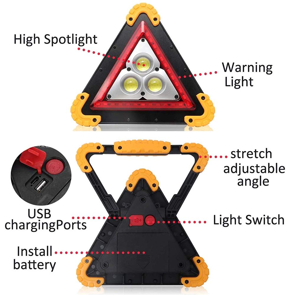 30W LED Car Recharable Emergency Light Triangle Work Light 4 Modes Portable Floodlight IP67 Waterproof for Car Home Emergency Security Warning Lamp