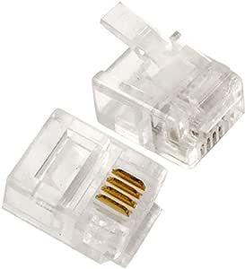 HUIJUNWENTI RJ 11 6P 4 C 2 x conector de puerto jack H//M tel/éfono divisor de color beige cable adaptador