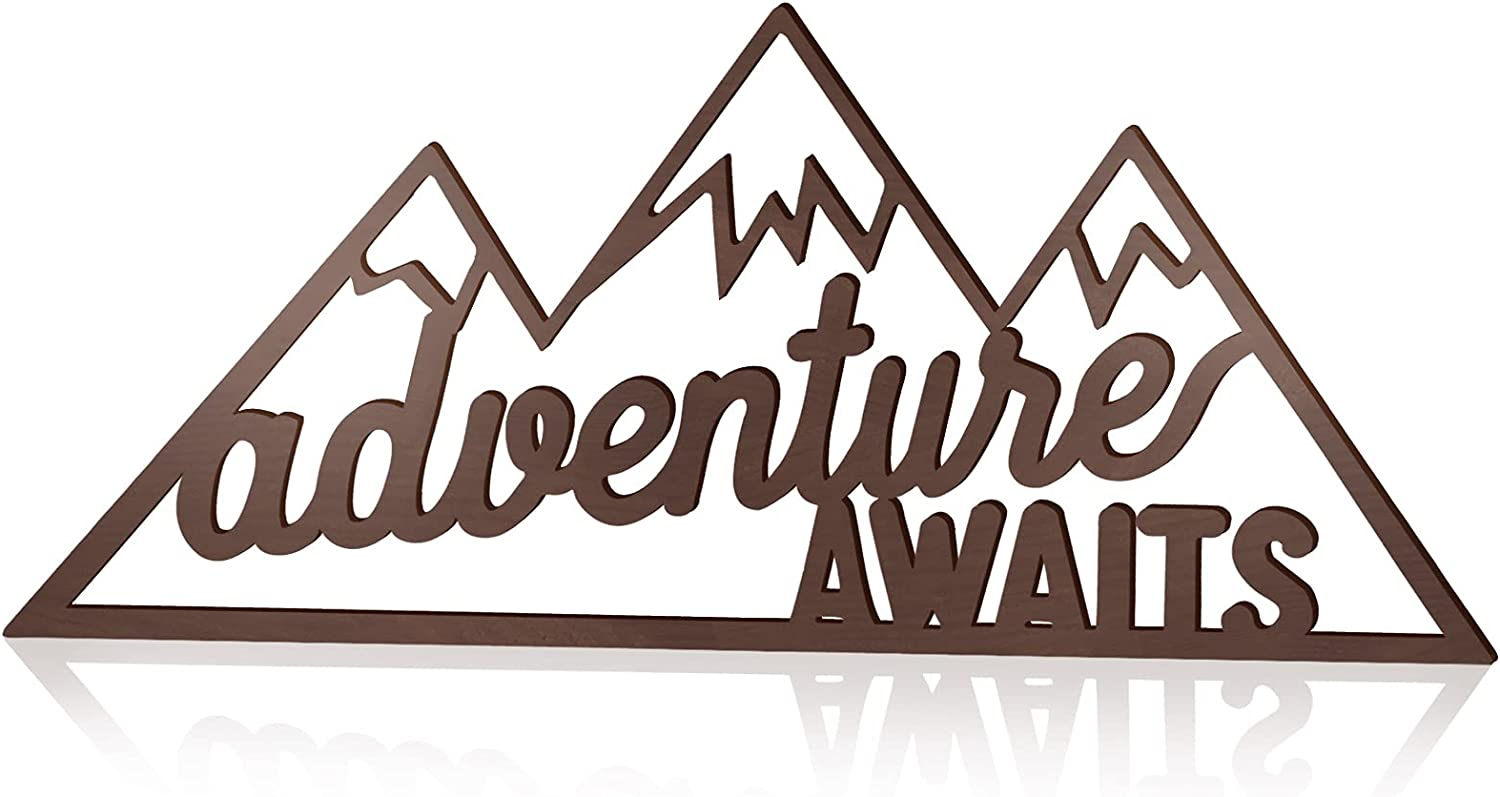 Jetec Adventure Awaits Sign Rustic Adventure Sign Wall Decor Farmhouse Wooden Awaits Decoration Hollow-Out Wood Decor for Child Kid's Room Home, 16 x 7 x 0.2 Inch