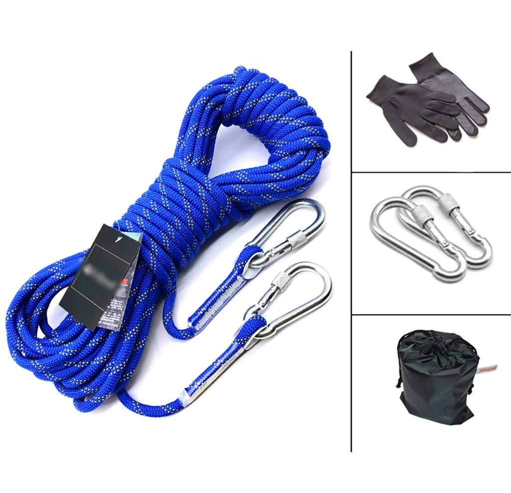 YXWssa Cordes Corde d'escalade, Corde de sécurité Haute résistance Corde Cousue, Boucle de sécurité Mousqueton, 10 m   20 m   30 m   50 m équipement d'escalade (Taille   10mm-20m) 10mm-50m