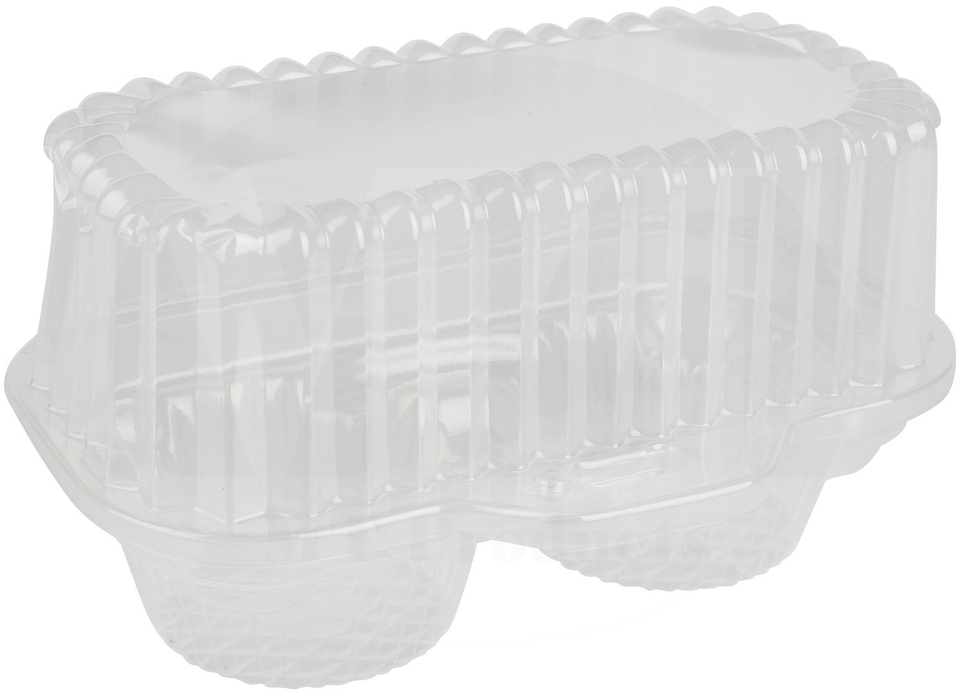 2 Compartment Hinged Clear Cupcake/Muffin Takeout Container by MT Products - (15 Pieces) 2CPCK15