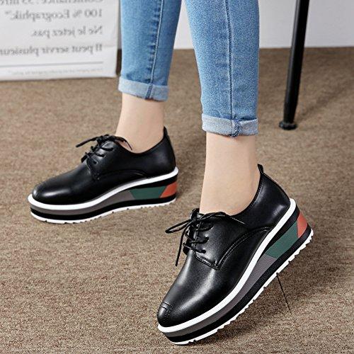 Cybling Mode Lage Top Lace Up Platform Sneakers Voor Vrouwen Outdoor Casual Wandelschoenen Zwart