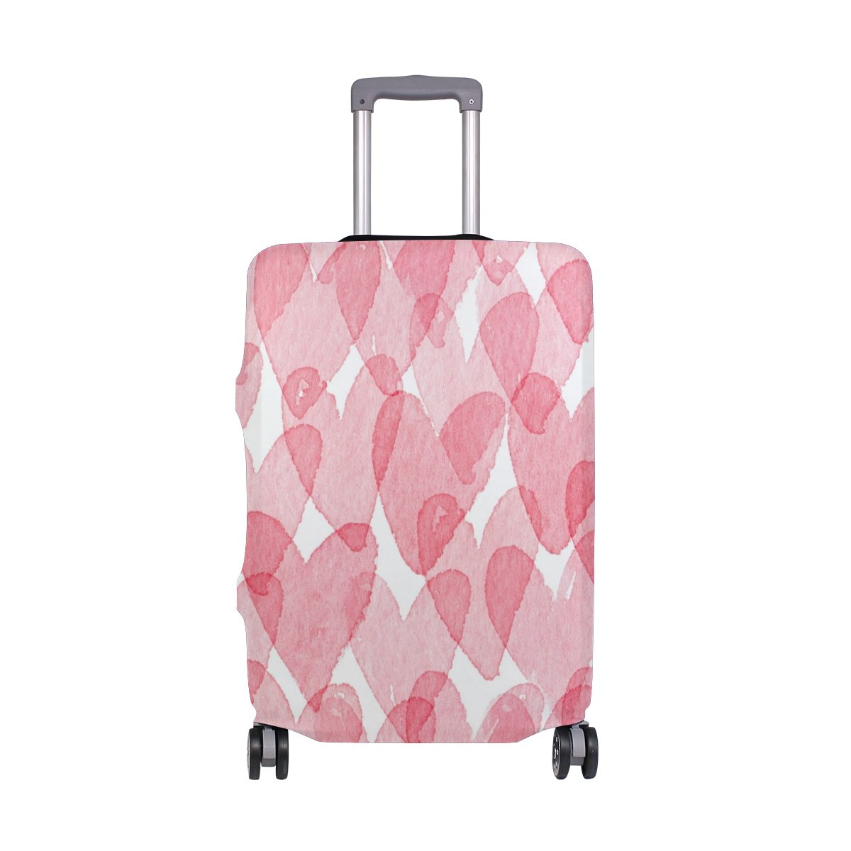 ALAZA Hearts Valentine's Day Wedding Luggage Cover Fits 24-26 Inch Suitcase Spandex Travel Protector M