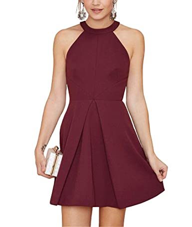Yangprom Sexy Halter Burgundy Homecoming Dress Short A-line Prom Party Dress