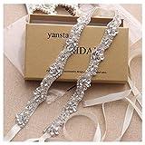 Yanstar Hand Beads Wedding Belts Sashes For Bridal Gowns Cream Belt Sash