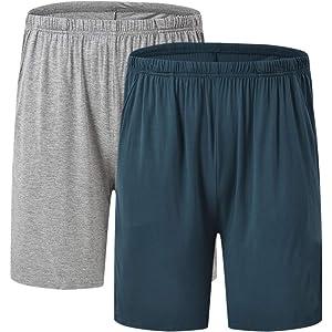 Pijamas para Hombres CityComfort Conjunto De Pijamas Hombres Dos Pantalones Cortos De Algod/ón con Cintura El/ástica Suaves Y C/ómodos Paquete Doble Ropa De Dormir O De Sal/ón