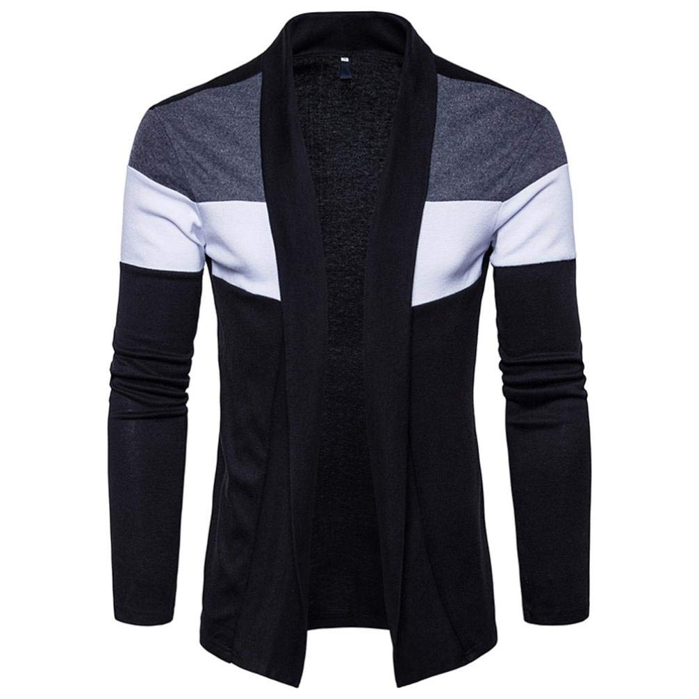 SPE969 Mens Slim Fit Hooded Knit Sweater Fashion Jacket Patchwork Trench Coat
