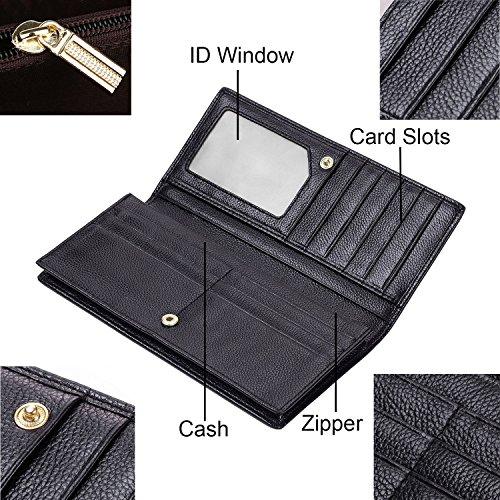 Dante Women RFID Blocking Ultra Slim Wallet, Ladies Clutch Wallet, Shield Against Identity Theft(Black)