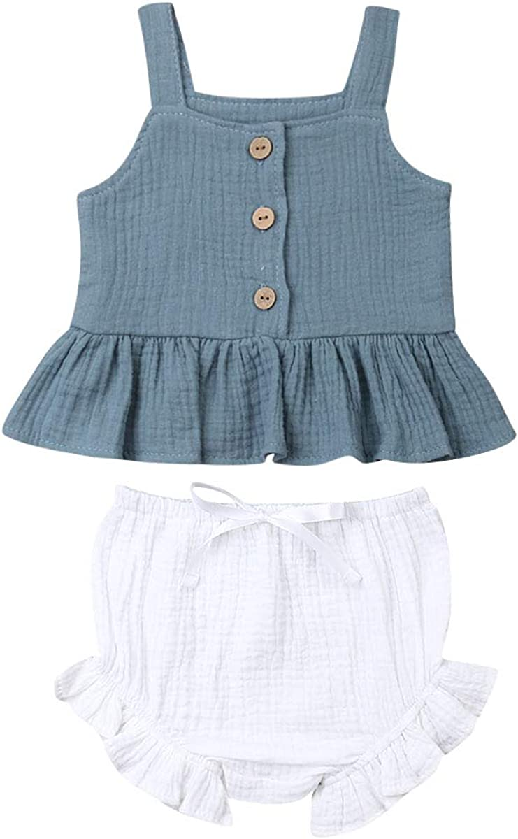 Toddler Kid Baby Girls Halter Vest Crop Top Sleeveless T-Shirt Loose Shorts Pants with Bowknot Summer Outfit 2-6Y
