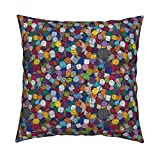 Roostery Dice Linen Cotton Throw Pillow Cover RPG DND D20 Nerd Geek Gaming by Pi-Ratical Cover w Optional Insert