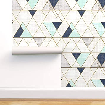 Spoonflower Peel And Stick Removable Wallpaper Pastel Geometric Vintage Triangles Mod Navy Print Self Adhesive Wallpaper 12in X 24in Test Swatch Amazon Com