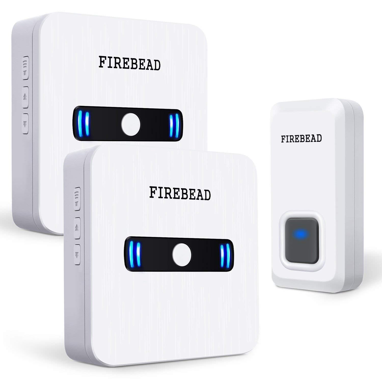 Doorbell wireless FIREBEAD Doorbell Kit waterproof Operating, loud wireless doorbell Over 55 Melodies to Choose From, a wireless doorbell LED Flash (White) 2 wireless doorbell waterproof