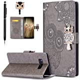Galaxy Note 8 Case,Galaxy Note 8 Cover,ikasus Bling Diamonds Glitter Embossing Mandala Owl PU Leather Fold Wallet Flip Stand Protective Case Cover + Dust Plug & Stylus for Samsung Galaxy Note 8,Gray