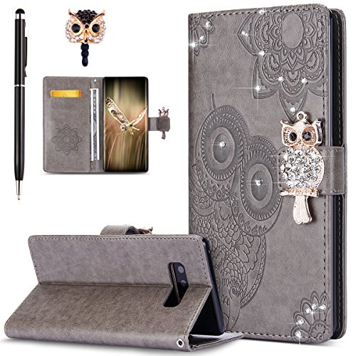 ikasus Galaxy Note 8 Case,Galaxy Note 8 Cover, Bling Diamonds Glitter Embossing Mandala Owl PU Leather Fold Wallet Flip Stand Protective Case Cover + Dust Plug & Stylus for Samsung Galaxy Note 8,Gray ()