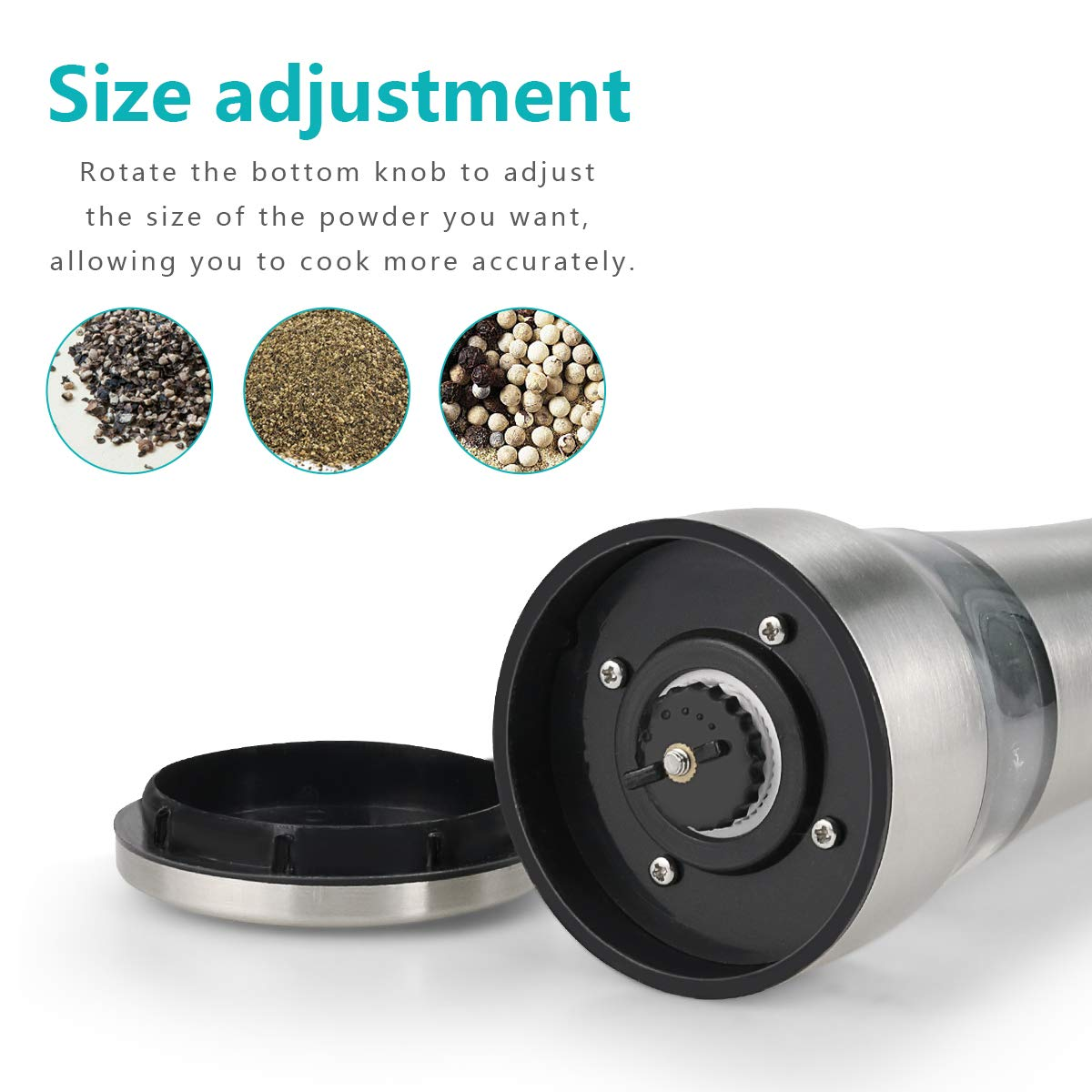 Number-One Salt Pepper Grinder Stainless Steel Pepper Mill Grinder Adjustable Coarseness Spice Sea Salts Pepper Grinder with Durable Ceramic Rotor and Protection Cap Suitable for Kitchen BBQ Picnic