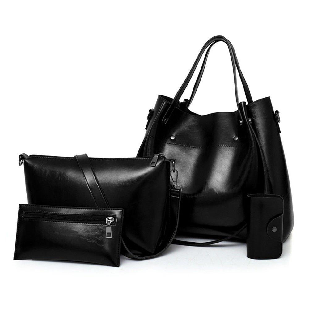 Ladies Handbag, Single Shoulder Bag, Fashion Large Capacity Mother Bag,Black,Four Piece Suit