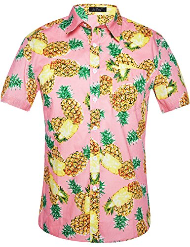 XI PENG Men's Tropical Short Sleeve Floral Print Beach Aloha Hawaiian Shirt (Pink Yellow Pineapple, - Parrot Bamboo Pink