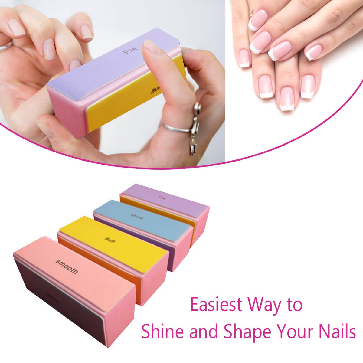 4 Way Nail Buffer Blocks - For Everlasting Nail Beauty - Safe For Your Nails (1 Pack of 4 Pieces) Schöne Products (UK)