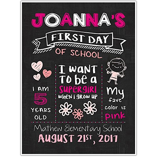 First Day of School Chalkboard Personalized Sign Photo Prop Poster by Paper Blast