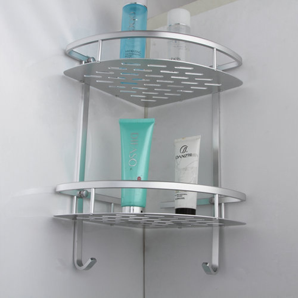 Bathroom Corner Shelf 2-Tiers Tub and Shower Caddy Basket Storage ...