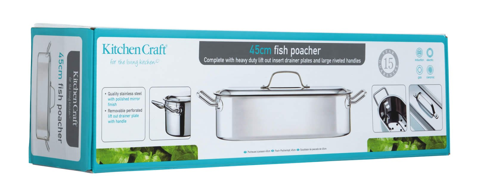 Kitchencraft Induction-safe Stainless Steel Fish Kettle, 45.5 x 15.5 x 10cm by Kitchen Craft (Image #1)
