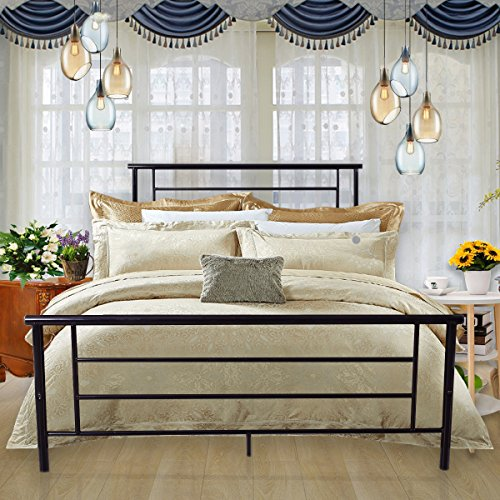 Metal Bed Platform Box Spring Replacement Foundation with Headboards & Hevay Duty Steel Slats, Full