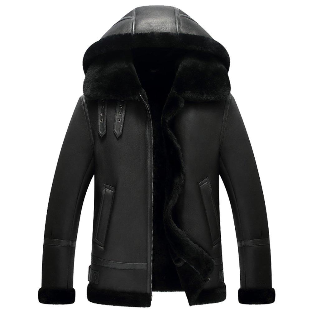 1.フード付きフライトジャケットメンズ b 3 メンズ ムートン ジャケット最強防寒ジャケット B078XBBBW6 XXXX-Large ブラック ブラック XXXX-Large