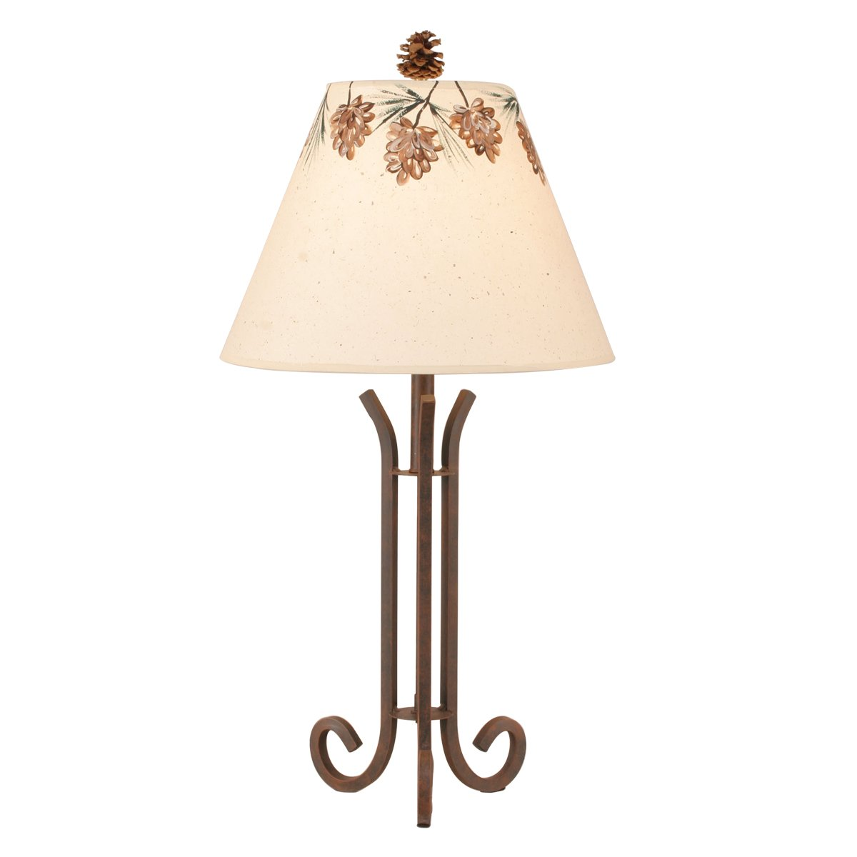 Rusted Steel 3 Rod Accent Lamp with Pine Cone Shade