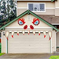 Rtudan Halloween Monster Face Decorations with Large Eyes Fake Teeth Outdoor Decor Garage Door Archway Car Party Decor Balcony Decorate Horror Decoration
