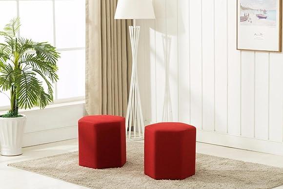 DARA OT 3001 Ottoman Bench Red Set of 2