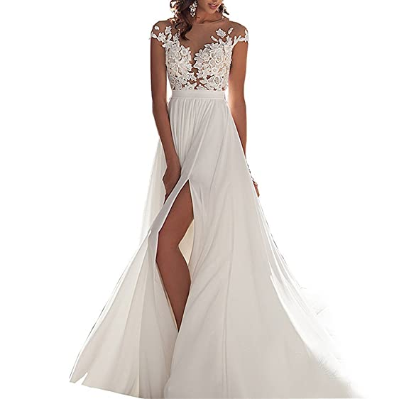 Vickyben Women\' Split Chiffon beach wedding dress 2017 lace back ...