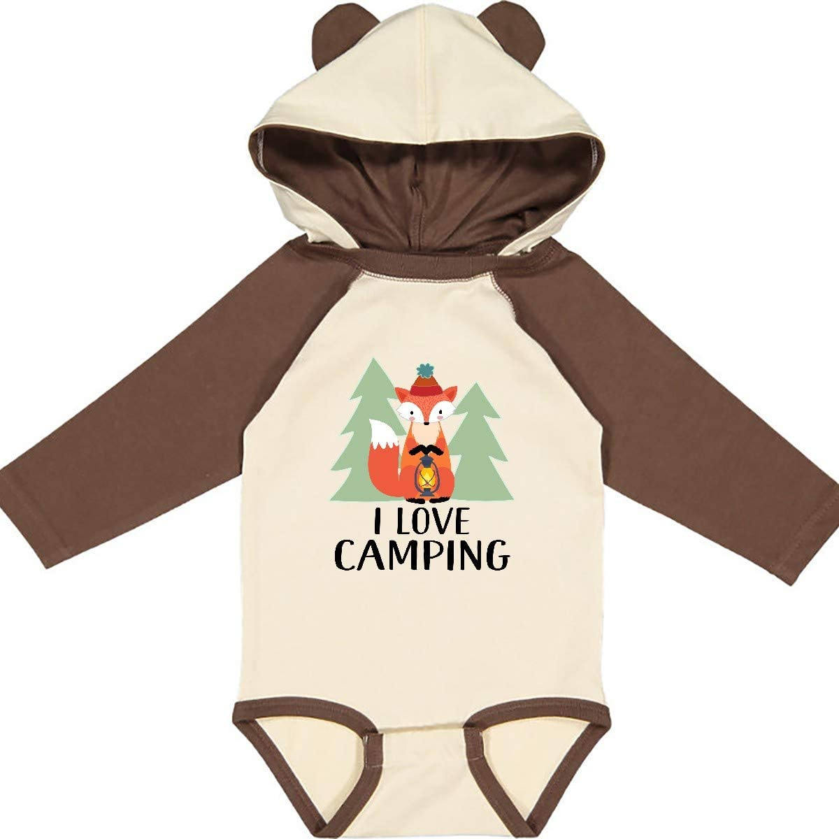 inktastic I Love Camping Woodland Fox Long Sleeve Creeper