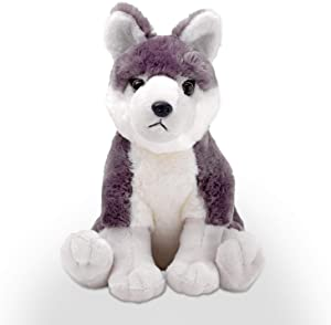 Kicko Wolf Pup Plush - 1 Piece - 12 Inch, Stuffed Animal Toy - for Kids, Wildlife Party Favors, Sensory Play, Stress Relief, Jungle Style Birthday Gifts, Forest Themed Presents, and More