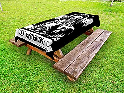 "Ambesonne Tarot Outdoor Tablecloth, Tarot Card for Emperor Woodcut Style Illustration Monochromatic Artwork, Decorative Washable Picnic Table Cloth, 58"" X 84"", Black and White"