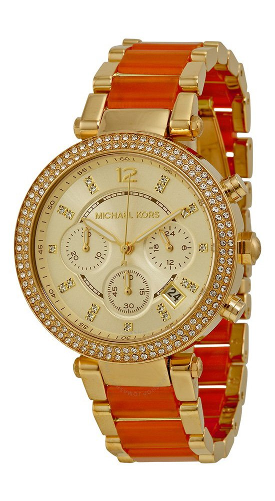 Michael Kors #MK6139 Women's Golden Peach Stainless Steel Crystal Accented Chronograph Watch