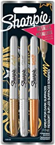 Sharpie Fine Point Metallic Permanent Markers - Assorted Metallic Colours, Pack of 3