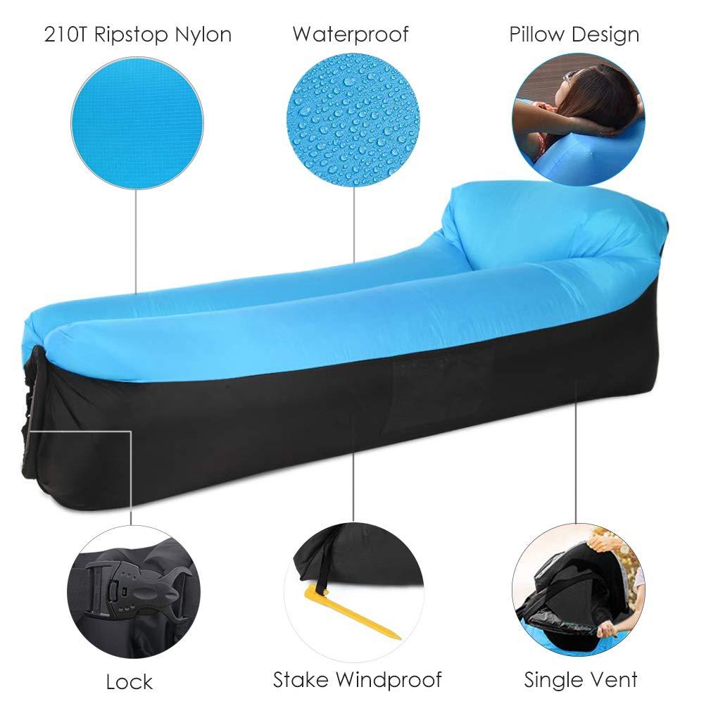Amazon.com: Tumbona hinchable TSGarden, diseño de almohada ...