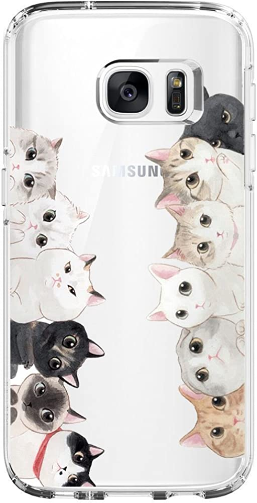 Compatible with Galaxy S6 S7 Edge Case Silicone Gel Rubber Cover Clear TPU Protect Bumper Slim Mobile Phone Case for S6