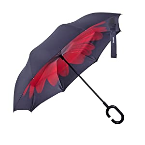 Glamore Umbrella, Inverted Double Layer Windproof UV Protection Reverse Folding Umbrellas Inside Out Travel Umbrella