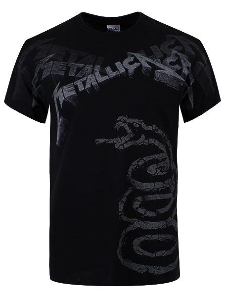f5d42f363d1 Atmosphere Metallica Black Album Faded T-Shirt Black  Amazon.co.uk  Clothing