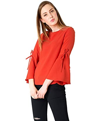 b0255b6bf1f65 Gopinath Feb Women s Stitched Diamond Crepe Plain Western Wear Top (Red