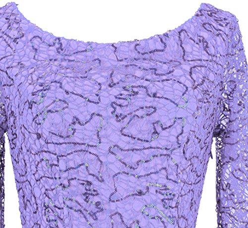 maniche fashions Sequin Viola scollo donne V con a Angel Mermaid tubino Chiaro mezze zaTn1R1