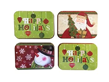 christmas gift card holders tin box santa snowman 4 pack