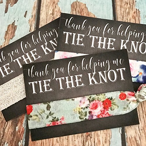 Set of 5 Thank You for helping me TIE THE KNOT Favors | Hair Tie Favors | Assorted Print & Shimmers