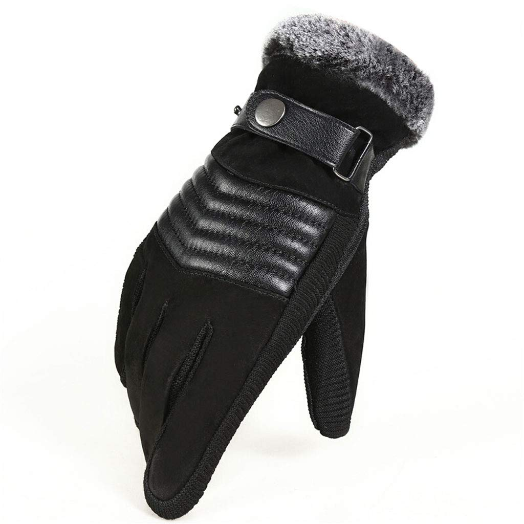 Color : Brown SangZhong Mens Warm Padded Cotton Plus Velvet Touch Screen Gloves Winter Windproof Cold Riding Bike Anti-Slip Leather Gloves